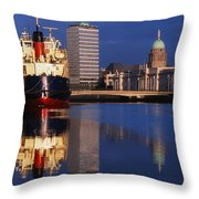 Guinness Boat, Custom House, Liberty Throw Pillow by The Irish Image Collection
