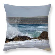 Gull On The Sand Throw Pillow by Linsey Williams