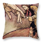 Gulliver In Brobdingnag Kissing The Hand Of The Queen Throw Pillow by Arthur Rackham
