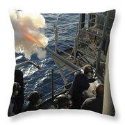 Gunners Mates Fire The .40mm Saluting Throw Pillow by Stocktrek Images