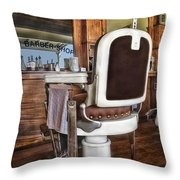 H J Barber Shop Throw Pillow by Susan Candelario