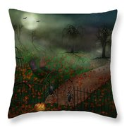 Halloween - One Hallows Eve Throw Pillow by Mike Savad