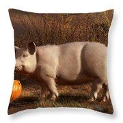 Halloween Pig Throw Pillow by Daniel Eskridge
