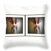Halloween Self Portrait - Gently Cross Your Eyes And Focus On The Middle Image Throw Pillow by Brian Wallace