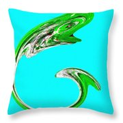 Hammer Tail Whale Throw Pillow by Will Borden