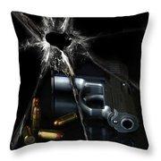Handgun Bullets and Bullet Hole Throw Pillow by Jill Battaglia