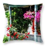 Hanging Baskets And Climbing Roses Throw Pillow by Susan Savad