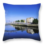 Hapenny Bridge, River Liffey, Dublin Throw Pillow by The Irish Image Collection