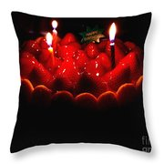 Happy Birthday Strawberry Charlotte Cake Throw Pillow by Wingsdomain Art and Photography