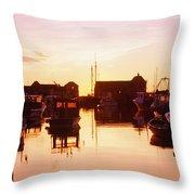 Harbor At Sunrise Throw Pillow by Bilderbuch