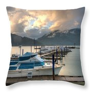 HARRISON LAKE AT DUSK Throw Pillow by LAWRENCE CHRISTOPHER
