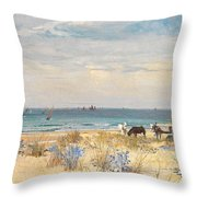 Harvesting the Land and the Sea Throw Pillow by William Lionel Wyllie