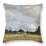 Haymaking Throw Pillow by Eugene Louis Boudin