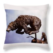 He Who Saved The Deer - Wolf Detail Throw Pillow by Dawn Senior-Trask and Willoughby Senior