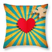 Heart And Cupid On Paper Texture Throw Pillow by Setsiri Silapasuwanchai