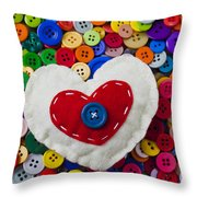 Heart Buttons Throw Pillow by Garry Gay