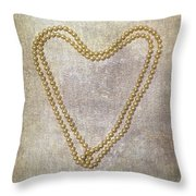 Heart Of Pearls Throw Pillow by Joana Kruse