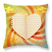 Heart Paper Retro Design Throw Pillow by Setsiri Silapasuwanchai