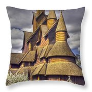 Heddal Stave Church  Throw Pillow by Heiko Koehrer-Wagner