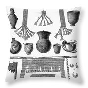 Heinrich Schliemann (1822-1890). German Traveller And Archeologist. Some Of The Antiquities Excavated By Schliemann At Hissarlick, Turkey, Site Of Ancient Troy. Wood Engraving, English, 1877 Throw Pillow by Granger