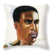 Hichan El Guerrouj Throw Pillow by Emmanuel Baliyanga