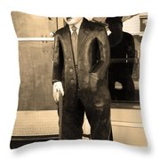 Historic Niles District In California Near Fremont . Charlie Chaplin Statue At The Florence Bar . Se Throw Pillow by Wingsdomain Art and Photography