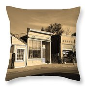 Historic Niles District In California Near Fremont . Main Street . Niles Boulevard . 7d10676 . Sepia Throw Pillow by Wingsdomain Art and Photography