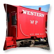 Historic Niles District in California Near Fremont . Western Pacific Caboose Train . 7D10627 Throw Pillow by Wingsdomain Art and Photography