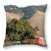 Historic Niles Trains In California . Old Southern Pacific Locomotive And Sante Fe Caboose . 7d10817 Throw Pillow by Wingsdomain Art and Photography