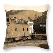 Historic Niles Trains in California.Southern Pacific Locomotive and Sante Fe Caboose.7D10843.sepia Throw Pillow by Wingsdomain Art and Photography
