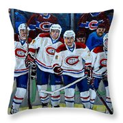 Hockey Art At Bell Center Montreal Throw Pillow by Carole Spandau