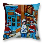 Hockey Game Corner Clark And Fairmount Wilenskys Paintings Throw Pillow by Carole Spandau