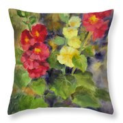 Hollyhocks Throw Pillow by Karin  Leonard