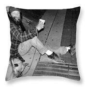 Homeless With Faithful Companion Throw Pillow by Kristin Elmquist