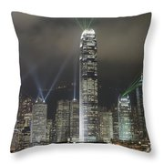 Hong Kong Light Show, At Night, Over Throw Pillow by Axiom Photographic