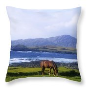 Horse Grazing In A Field, Beara Throw Pillow by The Irish Image Collection