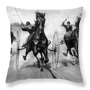 Horse Racing, 1890 Throw Pillow by Granger