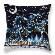 Horses Frolic On A Starlit Night Throw Pillow by Carol Law Conklin