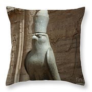 Horus The Falcon At Edfu Throw Pillow by Bob Christopher