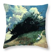 Houses On A Hill Throw Pillow by Winslow Homer