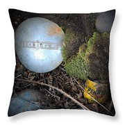 Hubcaps And Oil Cans Throw Pillow by Steve McKinzie