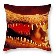 Human Skull  Alligator Skull Throw Pillow by Garry Gay