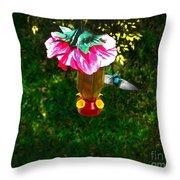 Hummingbird Early Visit Throw Pillow by Al Bourassa