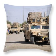 Humvees Conduct Security Throw Pillow by Stocktrek Images
