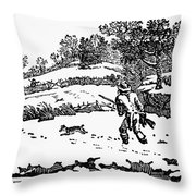 Hunting: Winter, C1800 Throw Pillow by Granger