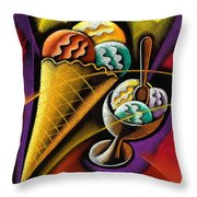 Icecream Throw Pillow by Leon Zernitsky