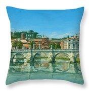 Il Fiumi Tevere Roma Throw Pillow by Richard Harpum