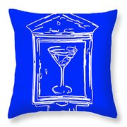 In Case Of Emergency - Drink Martini - Blue Throw Pillow by Wingsdomain Art and Photography