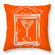 In Case Of Emergency - Drink Martini - Orange Throw Pillow by Wingsdomain Art and Photography