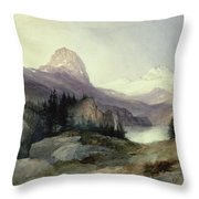 In the Bighorn Mountains Throw Pillow by Thomas Moran